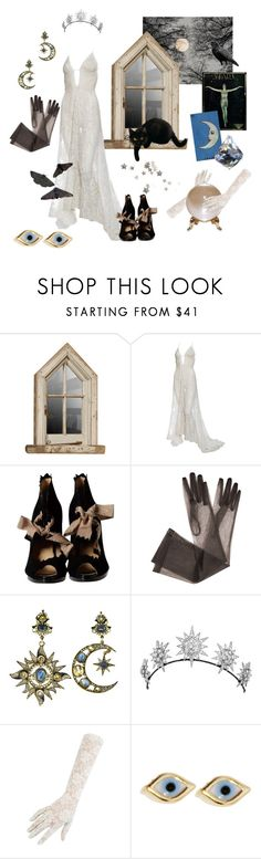 """""""La Luna"""" by thecatswhiskers ❤ liked on Polyvore featuring O Jour, Diego Percossi Papi, Black, Sydney Evan, the, lace, Night and stars"""