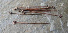 Handmade solid antique copper trefoil head pins x 10 MADE TO ORDER, copper head pins, antique copper head pins