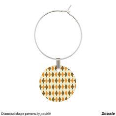 Diamond shape pattern wine glass charm