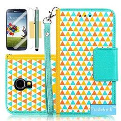 Galaxy S4 Case, Tradekmk(TM) Brand New Multifunctional Wristlet Wallet PU Leather Cards Holders Stand Phone Case Cover[Double Colors Triangle Building Blocks Design] Compatible with Samsung Galaxy S4 i9500[+Stylus+Screen Protector+Cleaning Cloth]-(Yellow+Green)