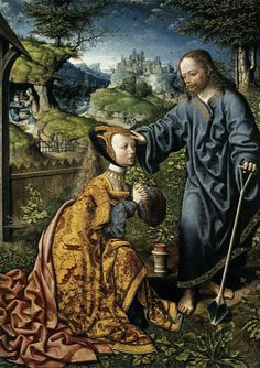 Jacob Cornelisz van Oostsanen (ca. 1475 – Noli me Tangere (Christ Appears to Mary Magdalene as a Gardener), 1507 Noli Me Tangere, Renaissance Kunst, Renaissance Paintings, Who Is Mary Magdalene, Maria Magdalena, Dutch Painters, Dramione, Medieval Art, Sacred Art