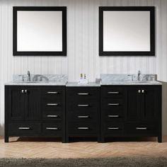 Virtu Usa Caroline Avenue 90 Inch Double Bathroom Vanity Set In Zebra Grey