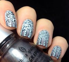Love these Foggy Trees from Nicole at Nail Polish Wars!