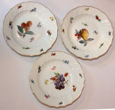 Set of Ten Meissen Porcelain Fruit Plates & 19thC Meissen Bird Plate | Bird Porcelain and Pottery