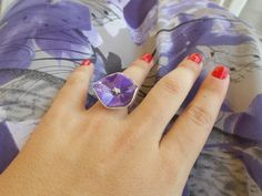 Items similar to Beautiful engraved silver ring with purple enamel on Etsy Druzy Ring, Gemstone Rings, Enamel, Silver Rings, Purple, Unique Jewelry, Handmade Gifts, Etsy, Beautiful