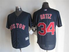 Boston Red Sox #34 David Ortiz Alternate Navy Blue 2015 MLB Cool Base Jersey
