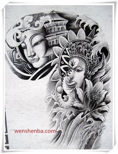 Buddha Tattoo Design, Om Tattoo Design, Buddha Tattoos, Tattoo Designs Men, Body Art Tattoos, Sleeve Tattoos, Ozzy Tattoo, Ma Tattoo, Harry Tattoos