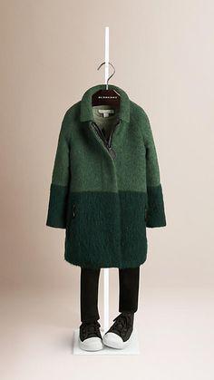 vert bouteille intensevert menthe cendr manteau color block en laine mohair et