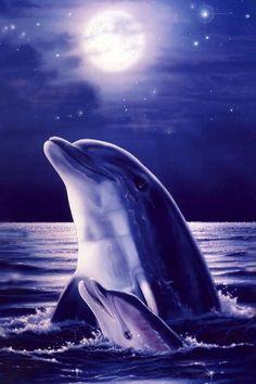 Blue Dolphins Glitter Effect - screenshot
