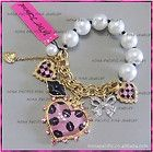 New Betsey Johnson lips Crystal Heart bow stretch bracelet b B021 - Designer Jewelry Galleria