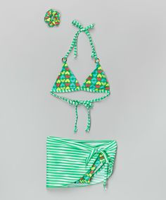 Look at this Sweet & Soft Green Heart Bikini Set - Toddler & Girls on #zulily today!