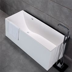 Milan67 Simplicity Collection 67 Long Luxurious Rectangluar Shaped Solid Surface Stone Resin Soaking Tub With Body Fit Base Soaking Tub Tub Solid Surface