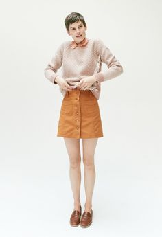 madewell patch-pocket skirt worn with the elinor loafer, reverse-diamond sweater + silk ruffle blouse.