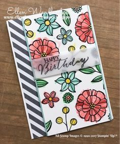 Ellen Woodbridge Independent Stampin' Up!® Demonstrator - Central Coast NSW Australia: Falling Flowers & Butterfly Basics and Neutrals Paper Stackwith Happpy Birthday, Birthday Cards For Women, Making Greeting Cards, Flower Patch, Flower Doodles, Stamping Up Cards, May Flowers, Cards For Friends, Winter Cards