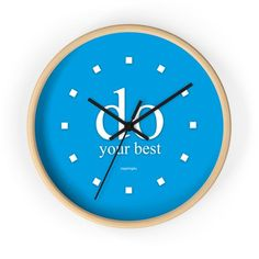 """Blue Wall Clock """"do your best"""" Office Wall Decor, Office Walls, Blue Wall Clocks, Special Gifts For Him, Light Blue Walls, Black And White Frames, Red Walls, Do Your Best, Wooden Frames"""