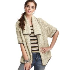 Boucle Open Front Short Sleeve Cardigan-must have this week.  Looks way cute on!