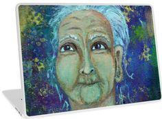 Auntie Ebb laptop skin ~ http://www.redbubble.com/people/elizafayle/works/13682796-auntie-ebb?p=laptop-skin  #woman #old #elderly #wise #crone