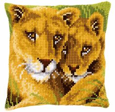 Vervaco Cross Stitch Kit Lion and Cub Cushion Front PN0145970