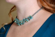Turquoise and Viking Knit Necklace  free by LindaBrittDesign, $65.00