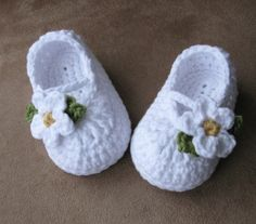 Baby Girl Christening Mary Jane Skimmers with flower by LandyKnits, $20.00