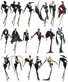 Vintage sketches of Thierry Mugler's iconic 1997 Haute Couture Collection. It is evident that he loves dramatic clothing. Fashion Illustration Sketches, Fashion Design Sketches, Fashion Drawings, Illustrations, New Fashion, Fashion Art, Fashion Outfits, Fashion Clothes, Couture Fashion