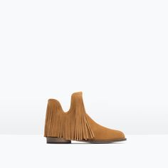 FRINGED LEATHER ANKLE BOOTS from Zara