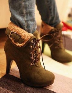 Lace up high heal ankle boots