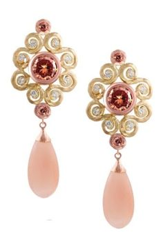 Pink Jewel Drop Earrings for Bride & Bridesmaids