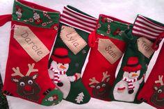 Personalised Christmas Stocking - Santa-Green Snowman - Red Reindeer -Handmade
