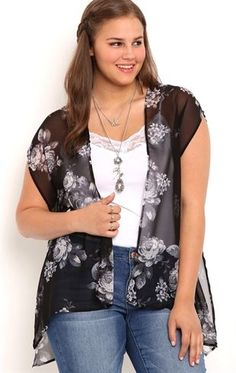 Deb Shops Short Sleeve #Floral Print Chiffon #Kimono with Lace Inset $18.75