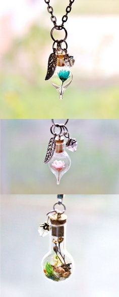 Terrarium necklaces by Teeny Tiny Planet | nature-inspired jewelry