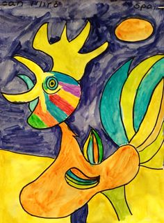 Elementary paintings inspired Spanish artist Joan Miro. #brookeside #montessori #spanish #joanmiro