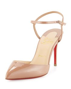 Rivierina Patent Ankle-Wrap Red Sole Pump, Nude by Christian Louboutin at Neiman Marcus.