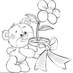Teddy Bear and Flower Coloring Pages Teddy Bear Coloring Pages, Cute Coloring Pages, Flower Coloring Pages, Disney Coloring Pages, Christmas Coloring Pages, Animal Coloring Pages, Free Coloring, Coloring Pages For Kids, Coloring Books