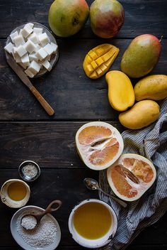 mango pomelo sago, with haupia   two red bowls