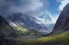 Environment by Sergey Zabelin on ArtStation. Fantasy Art Landscapes, Fantasy Landscape, Fantasy Artwork, Landscape Art, Beautiful Landscapes, Fantasy Life, High Fantasy, Medieval Fantasy, Fantasy World