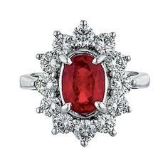 Ruby, Diamond, and White Gold Ring