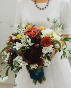 Red white + blue bouquet