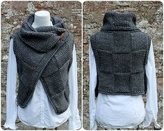 Ravelry: Grey wrap, sleeveless jacket pattern by Laura Dovile