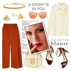 """Fall Trend: Necktie Blouse"" by blossom-jewels ❤ liked on Polyvore featuring Frame Denim, Yumi, Rupert Sanderson, Chloé, Linda Farrow, contestentry, necktie and Blossomjewels"