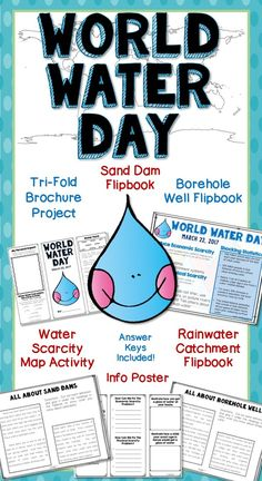 Celebrate World Water Day with this exciting pack of projects! The info sheet will generate class discussion on the water crisis, and the trifold brochure project is a fun way for kids to show what they've learned about economic and physical scarcity. Map Activities, Activities For Kids, Water Collection System, Rain Collection, Science Lessons, Geography Lessons, Science Fun, Science Projects, World Water Day