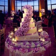 love this cake and the cake table. flower petals and candles on the cake table a… love this cake and the cake table. flower petals and candles on the cake table are a must Lavender Wedding Colors, Wedding Flowers, Lavender Cake, Lavender Color, Lavender Wedding Cakes, Purple Wedding Dresses, Lavender Wedding Theme, Floral Wedding, Lavender Quinceanera Dresses