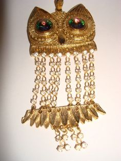 OWL PENDANT Rhinestones Green Jeweled Eyes Vintage
