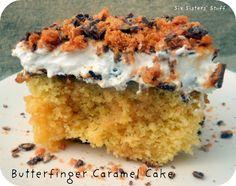 Butterfinger Caramel Poke Cake on SixSistersStuff.com