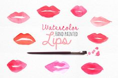 Watercolor Lips Clip Art  logo  personal or by patternpop on Etsy
