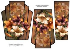 art Deco Stacker Topper Autumn Lilies on Craftsuprint - View Now! Decoupage Printables, Decoupage Ideas, Purple Lily, Fairy Silhouette, Card Making Designs, 3d Sheets, Bedroom Interiors, 3d Cards, Christmas Scenes