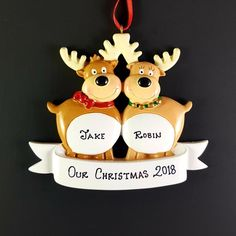 Off Shipping on or More Items Worldwide ------------------------------------------------------- Beautiful Hand Crafted Moose themed Christmas Ornament. I will hand-personalize your ornament in permanent black ink according to your Personalized Christmas Ornaments, Handmade Ornaments, Christmas Tree Ornaments, Holiday Gifts, Christmas Gifts, Family Ornament, Christmas Messages, Kraft Gift Boxes, Etsy App