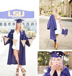 Lsu grad 2016 Source by Graduation Picture Poses, College Graduation Pictures, Graduation Portraits, Graduation Photoshoot, Graduation Photography, Grad Pics, Grad Pictures, Graduation Dress College, Graduation Shoes
