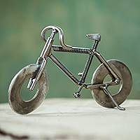 Peruvian Handcrafted Recycled Metal Bicycle Sculpture, 'Eco-Bicycle' Recycled metal sculpture, 'Eco-Bicycle' from They help succeed worldwide. Welding Art Projects, Welding Jobs, Arc Welding, Metal Welding, Metal Projects, Welding Ideas, Welding Crafts, Diy Projects, Metal Crafts