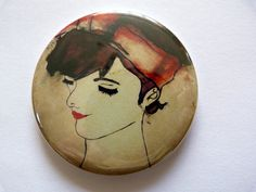 Pocket mirror  girl illustrations  vintage style by Floralchic, $8.00